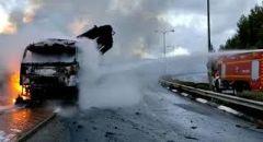 حيفا: اندلاع حريق في شاحنة رافعة قرب نيشر