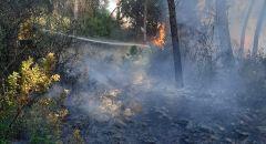 اندلاع حريق  في منطقة احراش بوادي ملحم بمدينة ام الفحم