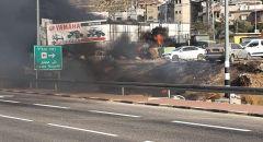 الرامة : إندلاع حريق عند مدخل القرية
