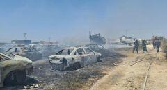 اندلاع حريق هائل في موشاف زيتان بمركز البلاد