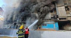 اندلاع حريق هائل في مبنى ببئر السبع