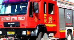 كريات شمونة : اندلاع حريق كبير في حافلة