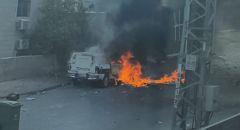 كفر قاسم: مواجهات وحرق سيارات للشرطة واصابة احد افرادها