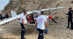شاطئ نتانيا ,,, اصابة طفيفة لرجل بسقوط طائرة خفيفة