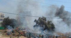 اندلاع حريق في منطقة أشواك في عرابة