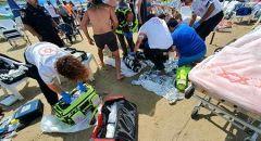 حالة حرجة لسيدة اثر تعرضها للغرق بشاطئ في هرتسليا