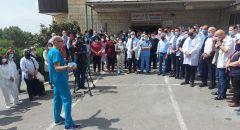 مستشفى الناصرة الانجليزي في تظاهرة احتجاجية رفضا للعنف ضد الطواقم الطبية والاعتداء عليهم