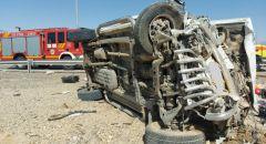 حادث طرق على شارع 90 واصابة ثلاثة اشخاص احدهم جراحه حرجة