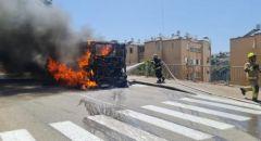 حيفا  : اشتعال النيران بحافلة دون إصابات