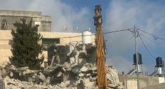 هدم بيت حاتم ابو ريالة بحي العيساوية في القدس للمرة الثالثة على التوالي بحجة البناء غير المرخص.