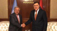 """السراج يؤكد لغوتيريش استمراره في """"الدفاع عن ليبيا"""" وتمسكه بإعادة فتح المنشآت النفطية"""