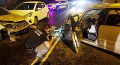 دير حنا ,,, 12 مصابا بحادث بين 3 مركبات على شارع 805