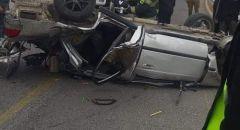 توثيق بالفيديو: حادث طرق قرب مدخل الطيبة يسفر عن إصابة شاب من قلنسوة بجراح خطيرة