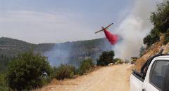 حريق هائل في أحراش بالقرب من وادي سوريك - شارع 386 (منطقة القدس)