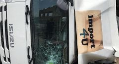الرامه انقلاب شاحنة على شارع الرامه بيت جن