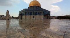 أمطار الخريف الاولى تسقط في القدس وتزين شوارع المدينة والمسجد الاقصى
