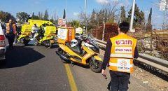 6 اصابات متفاوتة اثر حادث طرق بالقرب من المشهد