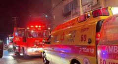 اللد: 22 مصابا بينهم اطفال اثر حريق في ملجأ عمارة سكنية