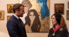 الرئيس الفرنسي إيمانويل ماكرون يلتقي الكبيرة فيروز  ويقلدها بأرفع وسام فرنسي