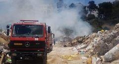 حريق كبير في مكب نفايات على شارع رقم ٦٥ في ام الفحم واتلاف في خطوط كوابل للكهرباء في المنطقه