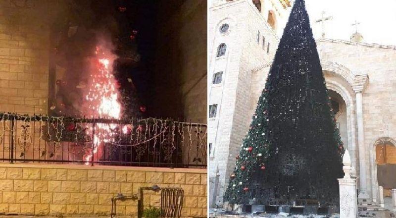 بلدية الناصرة تشجب حرق شجرة الميلاد في سخنين